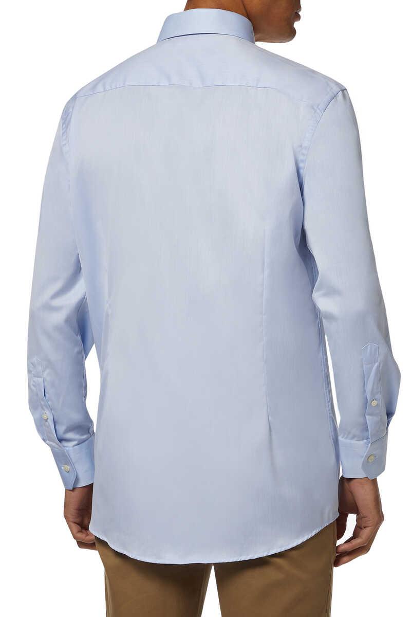 قميص تويل مميز للماركة بقصة ضيقة image number 3
