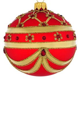 زينة زجاجية بتصميم كرة مخططة ومرصعة لشجرة الكريسماس