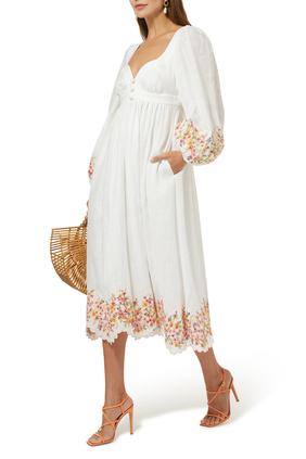 فستان ماي متوسط الطول بنقشة زهور