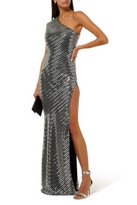 فستان سهرة بكتف مكشوف مزين بخرز