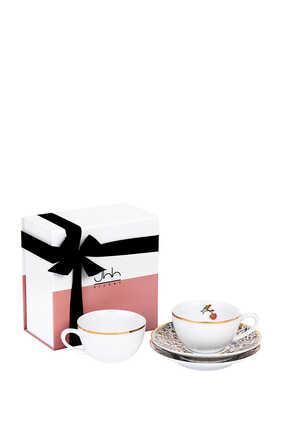 طقم فنجانين شاي ماجستك بورسلين مع علبة هدية، قطعتان