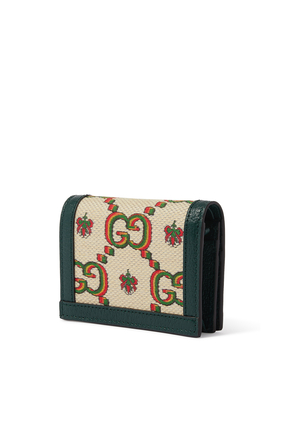 محفظة بفتحات للبطاقات جاكار باللونين الأخضر والبيج من مجموعة Gucci 100