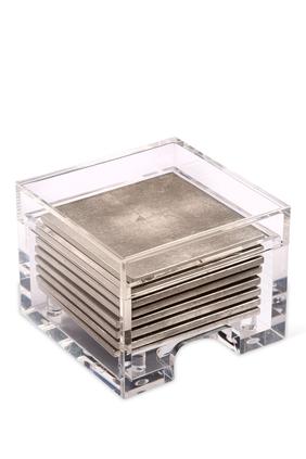 قواعد أكواب كوست بوكس من رقائق فضة غير لامعة وصندوق شفاف