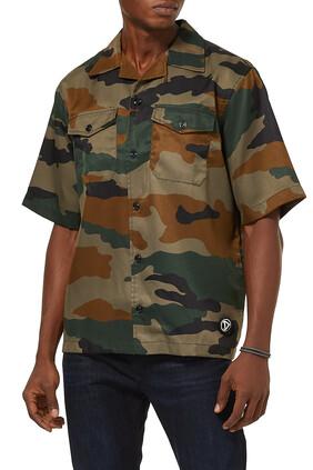 قميص بأزرار وتصميم عسكري