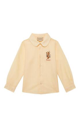 قميص بأزرار مزين بشعار الماركة
