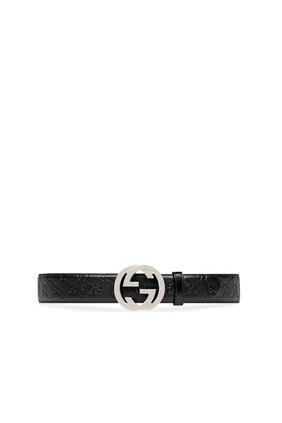 حزام جلد بشعار الماركة متداخل