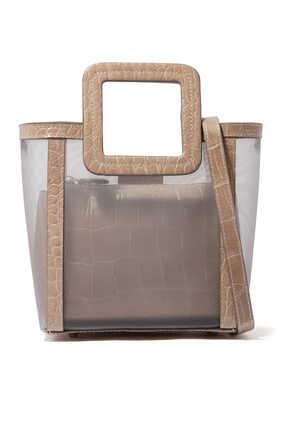 حقيبة ميني شيرلي قماش شبكي وجلد بنقشة جلد التمساح