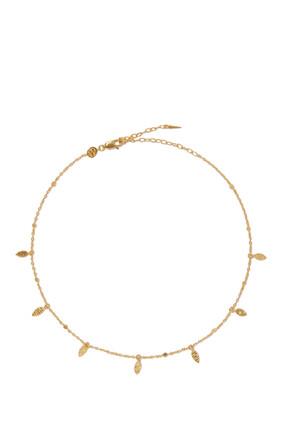 قلادة رقبة ذهبية مزينة بورق شجر