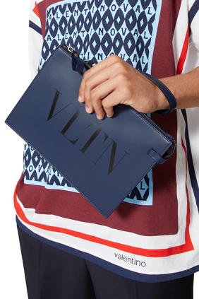 حقيبة صغيرة جلد مزينة بشعار VLTN