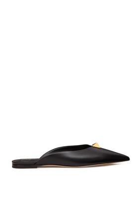 حذاء مفتوح من الخلف فالنتينو غارافاني بكعب مسطح وحلي هرمية