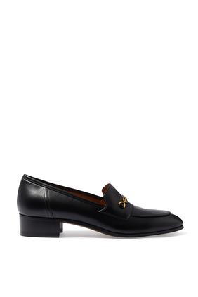 حذاء سهل الارتداء بحلية لجام حصان بلون ذهبي