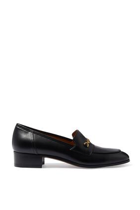 حذاء سهل الارتداء بحلية لجام الحصان بلون ذهبي