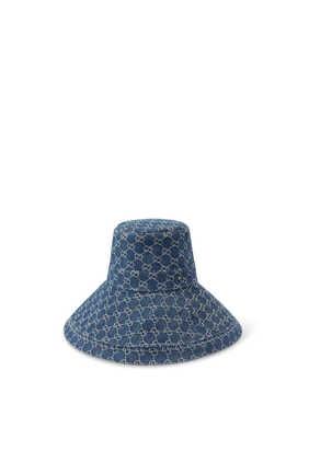 قبعة بحافة عريضة دينم باهت صديق للبيئة