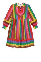 فستان مخطط مطرز