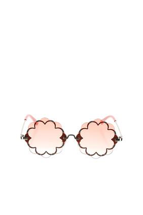 نظارة شمسية بعدسات مزدوجة بتصميم زهور
