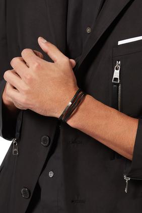 Bracelet/TAT/ Silver/Smooth & Braided Leather /black /Black Rhodium Plated/BrushedFinishClasp/ L:Black:L