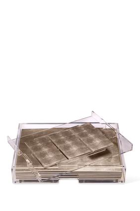 طقم أدوات مائدة غراند مات بوكس شفاف ورقائق فضة غير لامع