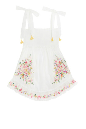 Mae Embroidered Dress:White:4Y
