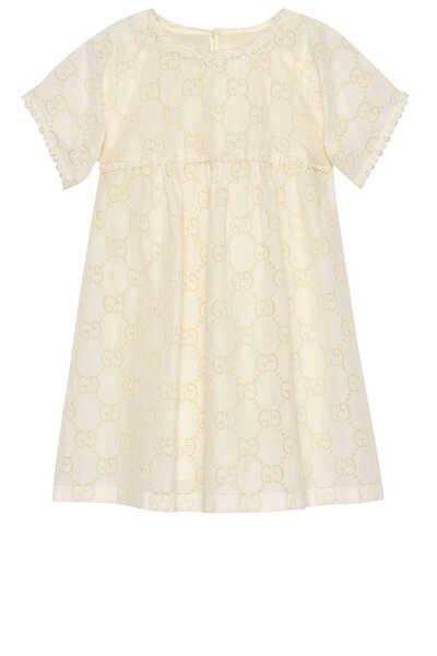 فستان مزين بحرفي GG بتطريز إنجليزي