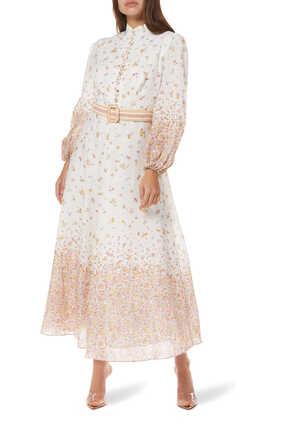فستان كرانبيري بنقشة الزهور وحزام