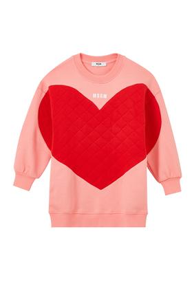 سويت شيرت مزين بطبعة قلب بحجم كبير