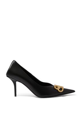حذاء كلاسيك جلد بتصميم مربع وكعب رفيع