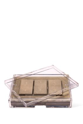 صندوق أدوات مائدة غراند مات بوكس شفاف بجلد طبيعي حبيبي