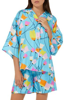 قميص حرير بنقشة زهور التوليب