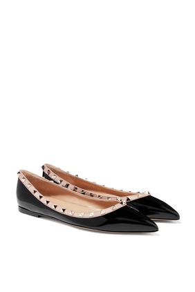 حذاء باليرينا فالنتينو غارافاني جلد لامع بحلي هرمية