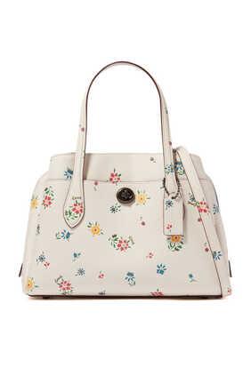 حقيبة لورا 30 جلد بنقشة زهور برية
