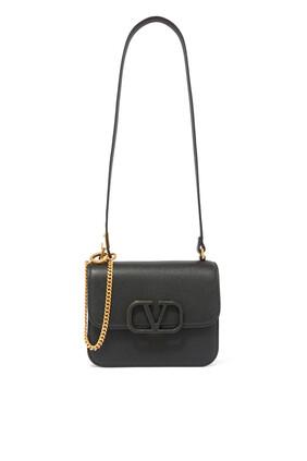 حقيبة كتف فالنتينو غارافاني صغيرة جلد بحلقة وشعار حرف V
