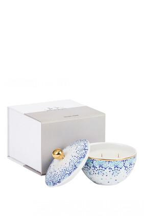 شمعة مرايا بلون أزرق وعبير نجيل الهند وخشب أرز بصندوق هدايا