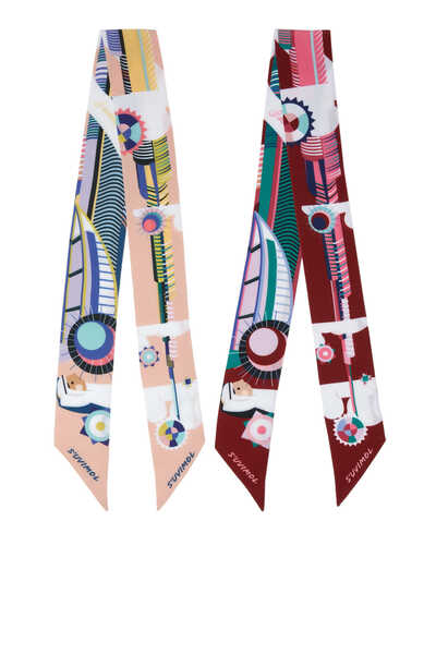 EXCLUSIVE BOX SET OF 2 TWILLYS - DUBAI CITY PRINTED BAG ACCESSORY (NEW COLOURS, BEIGE PRINT & DARK RED PRINT):Multi Colour:One Size