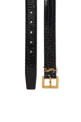 حزام بشعار الماركة وإبزيم مربع جلد بنقشة جلد التمساح