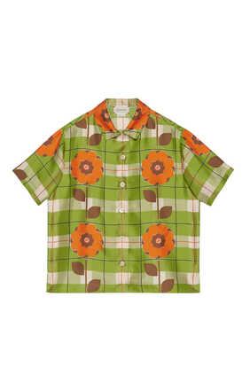 قميص حرير بنقشة زهور وحرفي GG متداخلين