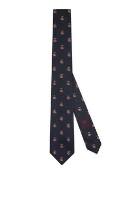 ربطة عنق حرير بنقشة جاكار بحرفي GG وتاج
