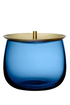 "DJ Nude Bowl Vessel w/ Lid Cobalt Blue H4.21"":Blue :One Size"