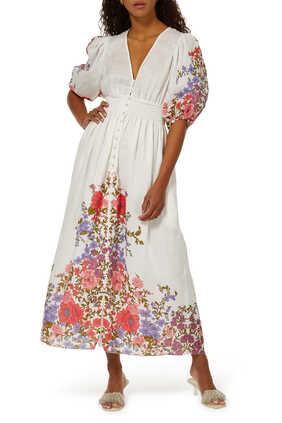 فستان بوبي متوسط الطول بخصر كشكش