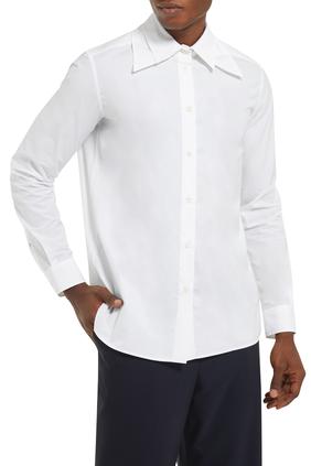 قميص قطن بياقة مزدوجة